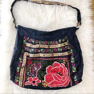 Antik Kraft Denim Embroidered Shoulder Bag